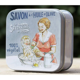 La Savonnerie de Nyons - Zeep in vierkant blikje moeder en baby (coton) 100 gram.