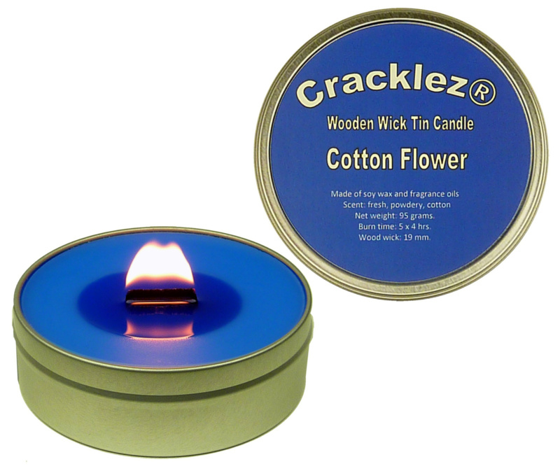 Cracklez® Knetter Houten Lont Geurkaars in blik Katoen Bloem. Blauw.
