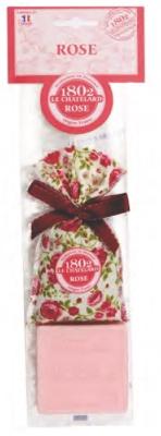 Le Chatelard 1802 - Geurzakje Rose met strik  & Marseille zeep Pioenroos