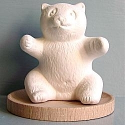 5169 Volatile aromasteen Panda met houten onderlegger