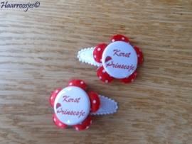 Haarspeldjes, baby, wit kant, met rode polkadot bloem en `Kerst Prinsesje`.