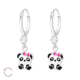 Zilveren oorbellen, met panda.