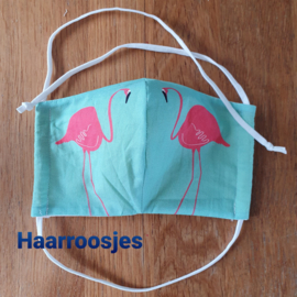 Mondkapje, mintgroen met flamingo. (S)