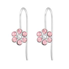 Zilveren kinderoorbellen, bloemetje roze.