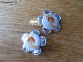 Haarspeldjes, baby, goud, met zilveren bloem en (B)engeltje.