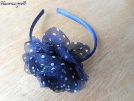 Haardiadeem, donkerblauw met donkerblauw polkadot haarbloem.