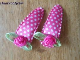 Haarspeldjes, peuter/kleuter, fuchsia roze polkadot met fuchsia roze roosje.