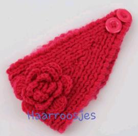 Gebreide haarband, fuchsia roze.