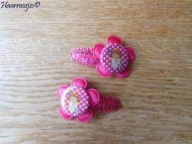 Haarspeldjes, peuter/kleuter, fuchsia roze met pailletjes en fuchsia roze satijnen bloem en (B)engeltje.