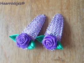 Haarspeldjes, peuter/kleuter, paars met pailletjes met paarse roos.