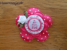 Haarlokspeldje, fuchsia roze polkadot , fuchsia roze satijnen bloem, 'Ik ben grote zus' en fuchsia roze roosje.