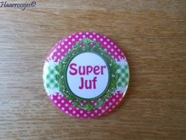Bedankcadeautjes, spiegeltje `Super Juf!` (fuchsia roze/lime)