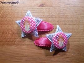 Haarspeldjes, peuter/kleuter, fuchsia roze en een zilveren ster met pailletjes en een (B)engeltje.