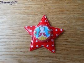 Haarlokspeldje, rode ster met sterretjes en een kerst Belle.