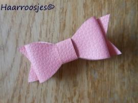 Leren strik, roze.