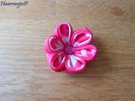 Lintbloem, fuchsia roze, met fuchsia roze en wit/fuchsia roze bloem.