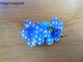 Zachte elastiekjes, klein, blauw met blauw polkadot bloemetje en blauw roosje.