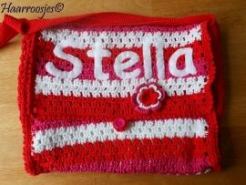 Gehaakte tas, rood / roze / wit, met naam, gemaakt op bestelling.