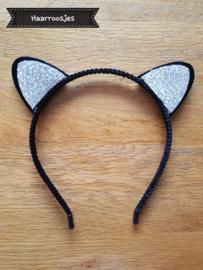 Haardiadeem met kattenoortjes, zwart met glitter - zilver/wit.