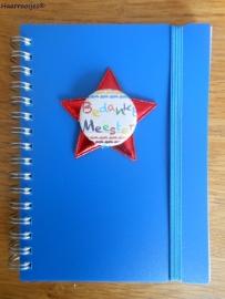 Notitieboekje A6, kobalt blauw, Bedankt meester.