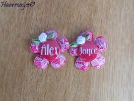 Haarlokspeldje met naam - Alex en Joyce