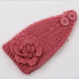 Gebreide haarband, oud roze.