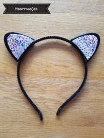 Haardiadeem met kattenoortjes, zwart met glitter - zilver/multi colour.
