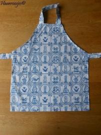 Kinderschortje, stof, delfts blauw.