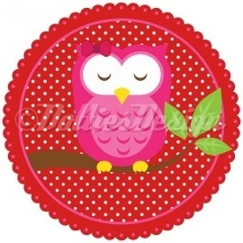 Full color strijkapplicatie, pink owl.