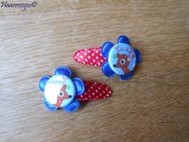 Haarspeldjes, peuter/kleuter, rood polkadot met blauwe bloem en een kersthertje.
