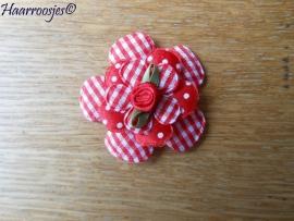Haarlokspeldje, rood geruit, polkadot en geruite bloem en rood roosje.