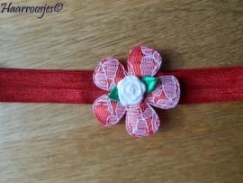 Elastisch haarbandje, rood, met kanten bloem en wit roosje.