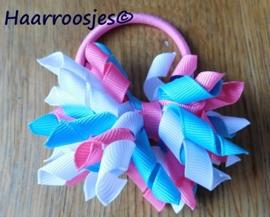 Krulliesss op elastiek, roze, wit en mint.