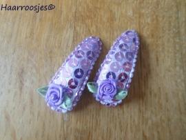 Haarspeldjes, peuter/kleuter, paars met pailletjes met paars roosje.