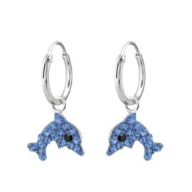 Zilveren kinderoorbellen, blauwe dolfijn.