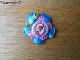 Haarlokspeldje, blauw satijnen, roze geruite bloem, bambi en blauw roosje.