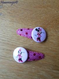 Haarspeldjes, peuter/kleuter, roze/paars met pailletjes en een Minnie Mouse flatback.