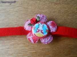 Babyhaarbandje smal, rood, met rood kanten bloem, Kerst Belle, en rood roosje.