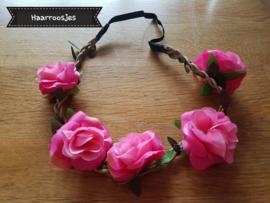 Ibiza haarband, fuchsia roze.