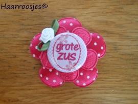 Haarlokspeldje, fuchsia roze polkadot , fuchsia roze kanten bloem, 'Grote zus' en fuchsia roze roosje.