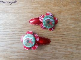 Haarspeldjes, peuter/kleuter, kerstrood met rode bloem met sneeuwvlokken en een vogeltje.