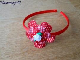 Haardiadeem, peuter/kleuter, rood met rode polkadot bloem, geruite bloem, polkadot bloemetje en wit roosje.