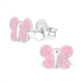 Zilveren kinderoorbellen, roze glitter vlinder.