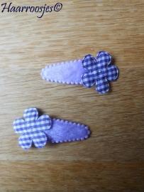 Haarspeldjes, peuter/kleuter, paars fluweel met geruit bloemetje - voor Lewina.