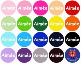"Flatback met naam ""Aimée""."
