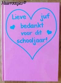 Notitieboekje A5, roze met open hart.