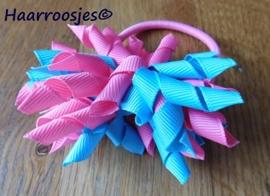 Krulliesss op elastiek, roze en mint.