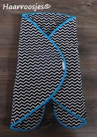 Wrapper, zwart/wit zigzag - blauw