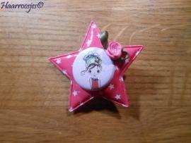 Haarlokspeldje, fuchsia roze ster met sterretjes, een meisje en een roze roosje.