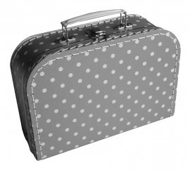 Koffertje, zilvergrijs met polkadots - 25 cm.